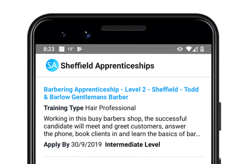 Sheffield Apprenticeships - mobile development with React Native