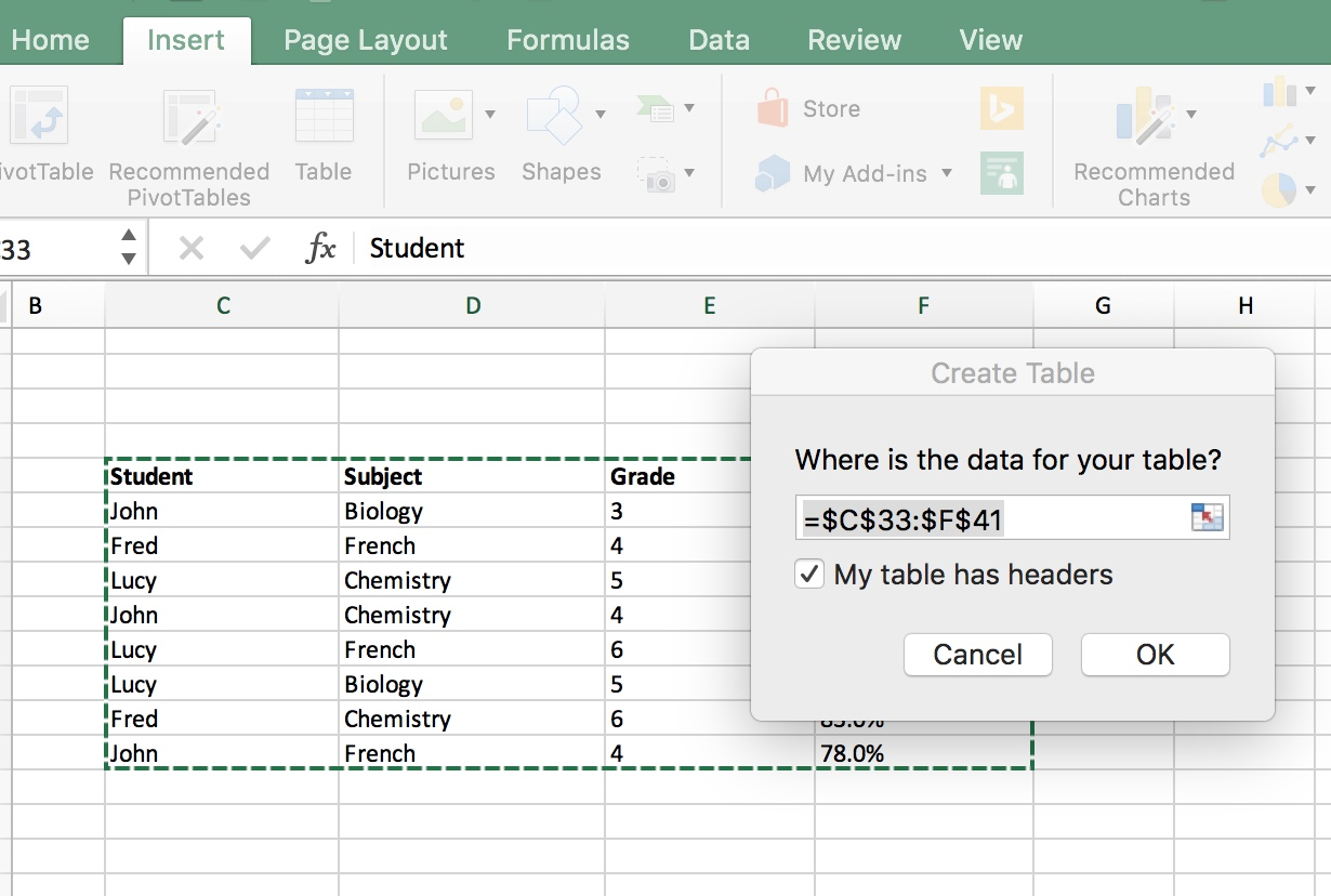 Tables in Excel
